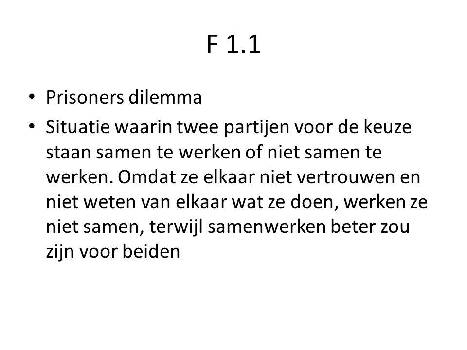 F 1.1 Prisoners dilemma Situatie waarin twee partijen voor de keuze staan samen te werken of niet samen te werken.