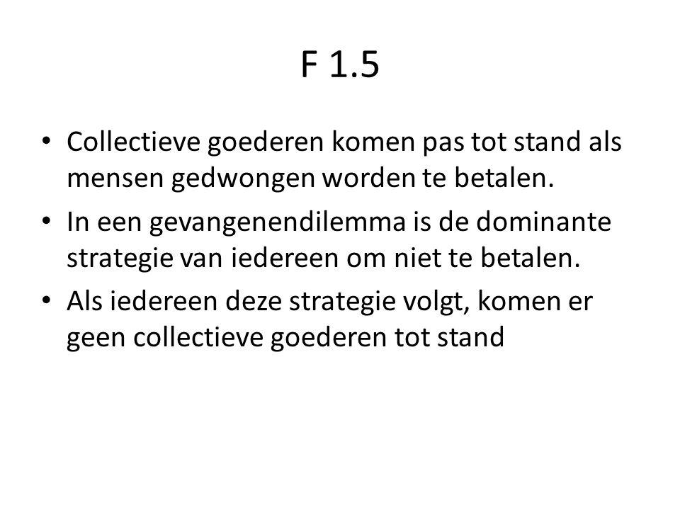 F 1.5 Collectieve goederen komen pas tot stand als mensen gedwongen worden te betalen. In een gevangenendilemma is de dominante strategie van iedereen