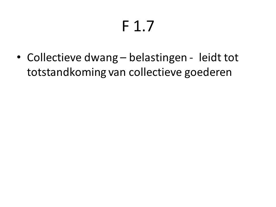 F 1.7 Collectieve dwang – belastingen - leidt tot totstandkoming van collectieve goederen