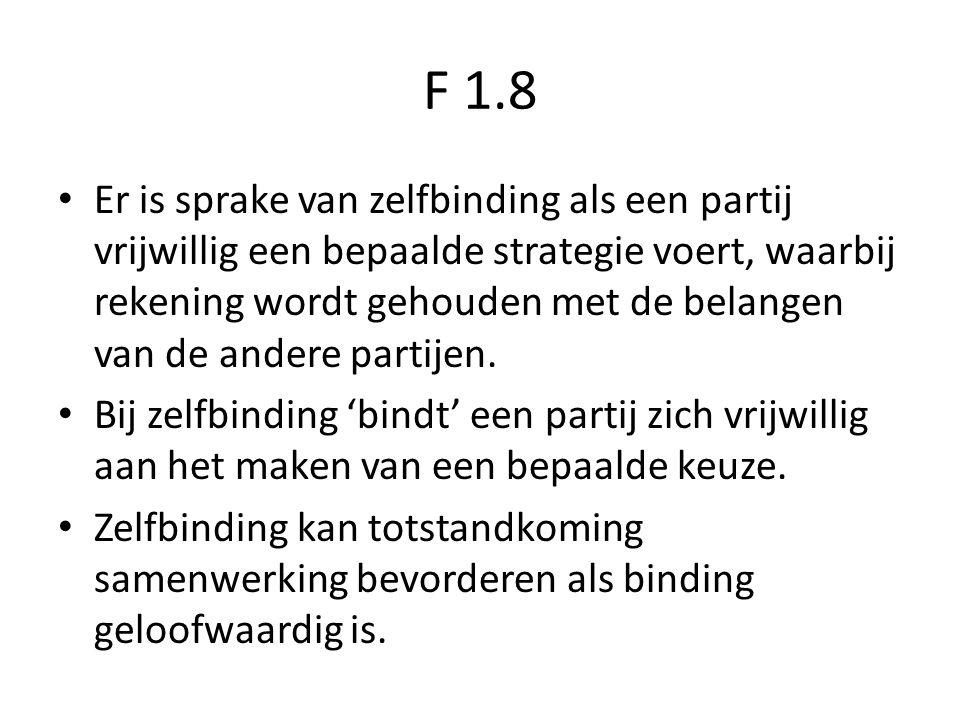 F 1.8 Er is sprake van zelfbinding als een partij vrijwillig een bepaalde strategie voert, waarbij rekening wordt gehouden met de belangen van de ande