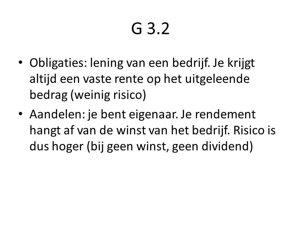 G 3.2 Obligaties: lening van een bedrijf.