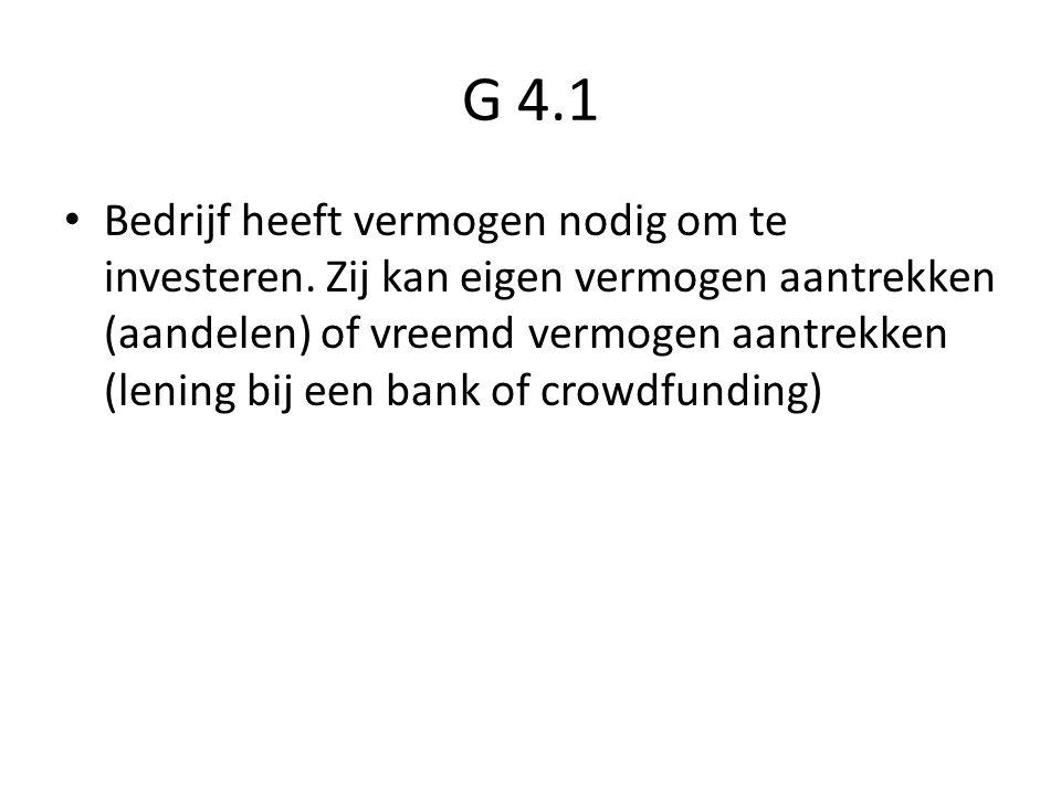 G 4.1 Bedrijf heeft vermogen nodig om te investeren. Zij kan eigen vermogen aantrekken (aandelen) of vreemd vermogen aantrekken (lening bij een bank o