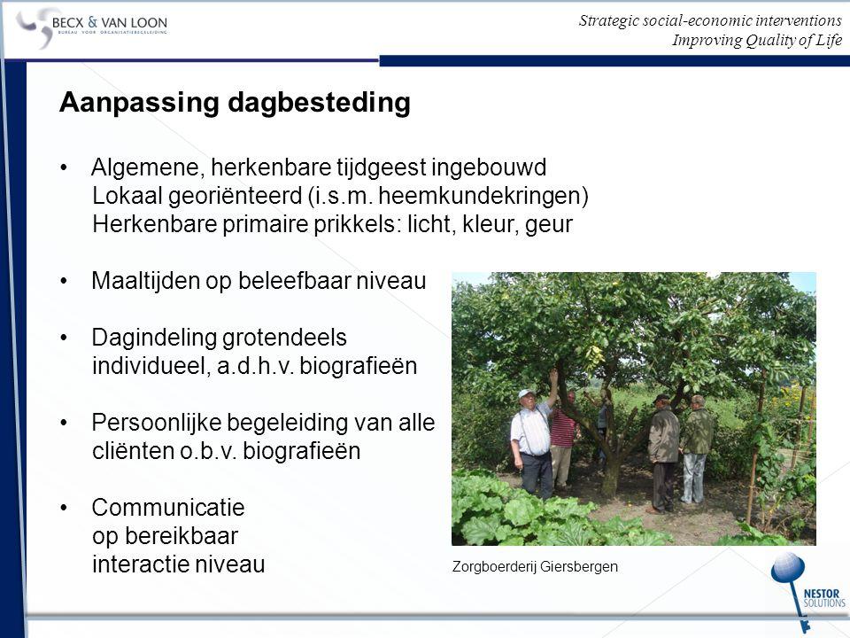 Strategic social-economic interventions Improving Quality of Life Aanpassing dagbesteding Algemene, herkenbare tijdgeest ingebouwd Lokaal georiënteerd (i.s.m.