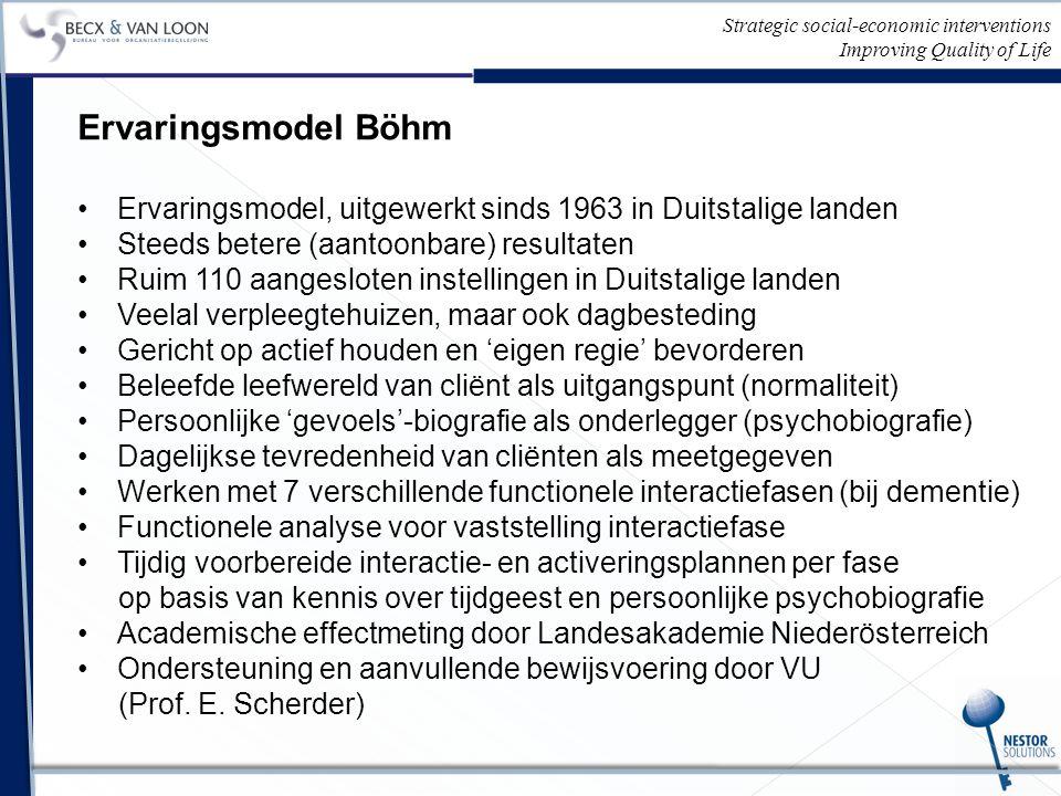 Strategic social-economic interventions Improving Quality of Life Ervaringsmodel Böhm Ervaringsmodel, uitgewerkt sinds 1963 in Duitstalige landen Steeds betere (aantoonbare) resultaten Ruim 110 aangesloten instellingen in Duitstalige landen Veelal verpleegtehuizen, maar ook dagbesteding Gericht op actief houden en 'eigen regie' bevorderen Beleefde leefwereld van cliënt als uitgangspunt (normaliteit) Persoonlijke 'gevoels'-biografie als onderlegger (psychobiografie) Dagelijkse tevredenheid van cliënten als meetgegeven Werken met 7 verschillende functionele interactiefasen (bij dementie) Functionele analyse voor vaststelling interactiefase Tijdig voorbereide interactie- en activeringsplannen per fase op basis van kennis over tijdgeest en persoonlijke psychobiografie Academische effectmeting door Landesakademie Niederösterreich Ondersteuning en aanvullende bewijsvoering door VU (Prof.