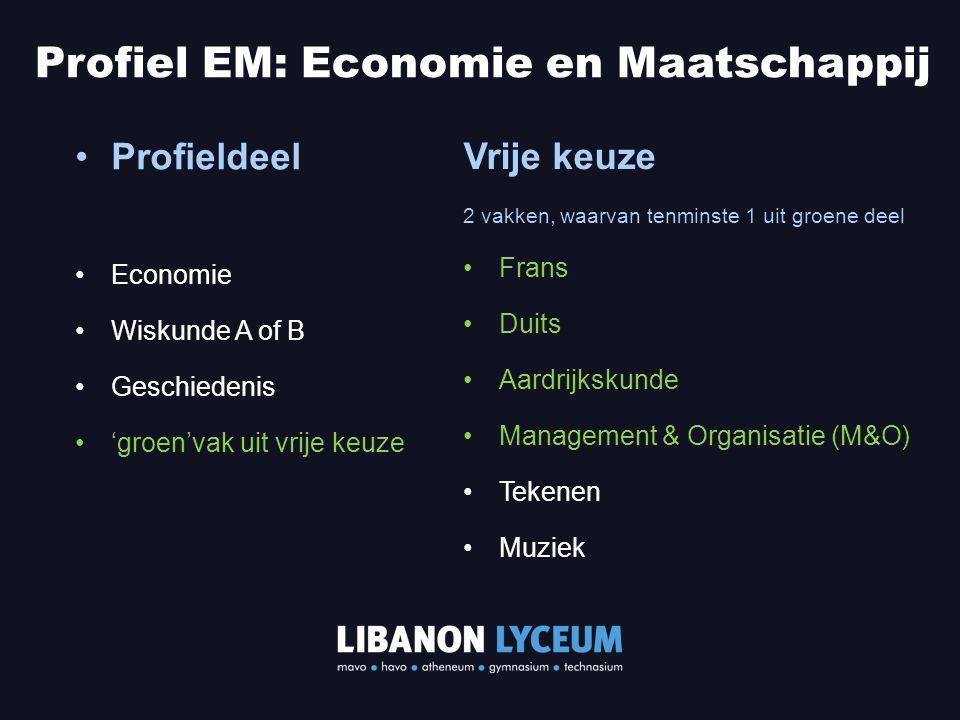 Profieldeel Economie Wiskunde A of B Geschiedenis 'groen'vak uit vrije keuze Profiel EM: Economie en Maatschappij Vrije keuze 2 vakken, waarvan tenmin