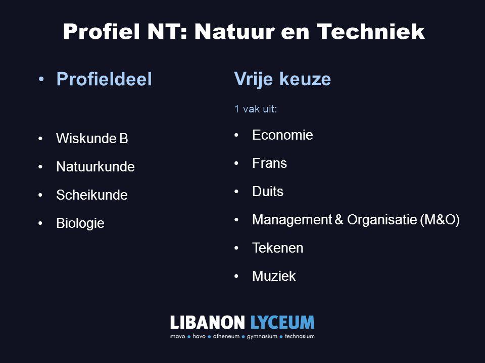 Profieldeel Wiskunde B Natuurkunde Scheikunde Biologie Profiel NT: Natuur en Techniek Vrije keuze 1 vak uit: Economie Frans Duits Management & Organis