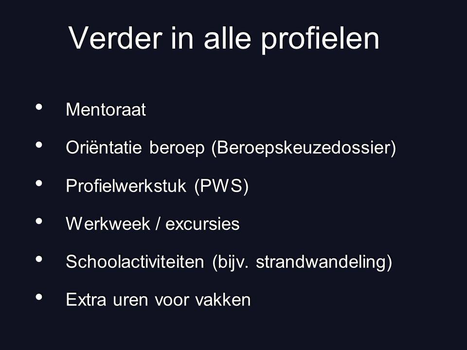 Verder in alle profielen Mentoraat Oriëntatie beroep (Beroepskeuzedossier) Profielwerkstuk (PWS) Werkweek / excursies Schoolactiviteiten (bijv. strand