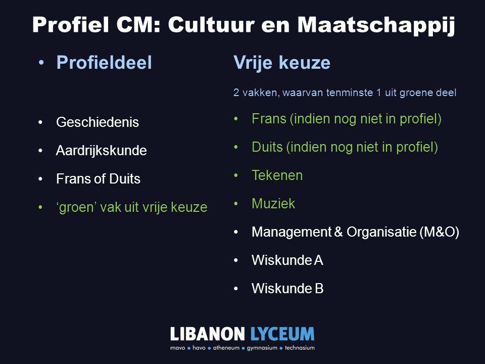 Profieldeel Geschiedenis Aardrijkskunde Frans of Duits 'groen' vak uit vrije keuze Profiel CM: Cultuur en Maatschappij Vrije keuze 2 vakken, waarvan t