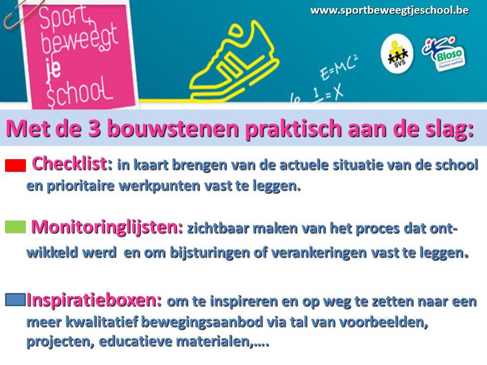 www.sportbeweegtjeschool.be Checklist: in kaart brengen van de actuele situatie van de school en prioritaire werkpunten vast te leggen.