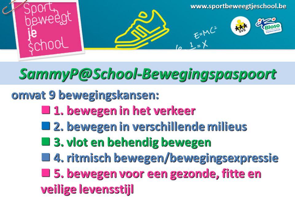 www.sportbeweegtjeschool.beSammyP@School-Bewegingspaspoort omvat 9 bewegingskansen: 1.