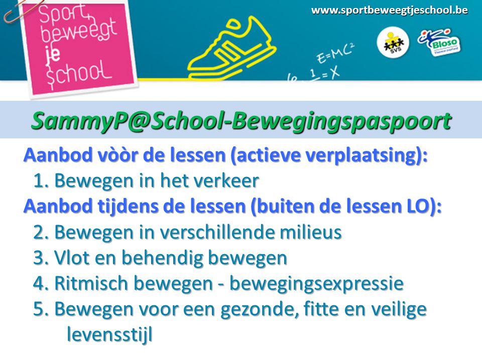 www.sportbeweegtjeschool.beSammyP@School-Bewegingspaspoort Aanbod vòòr de lessen (actieve verplaatsing): Aanbod vòòr de lessen (actieve verplaatsing): 1.