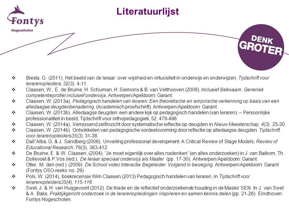 Literatuurlijst  Biesta, G. (2011), Het beeld van de leraar: over wijsheid en virtuositeit in onderwijs en onderwijzen, Tijdschrift voor lerarenoplei