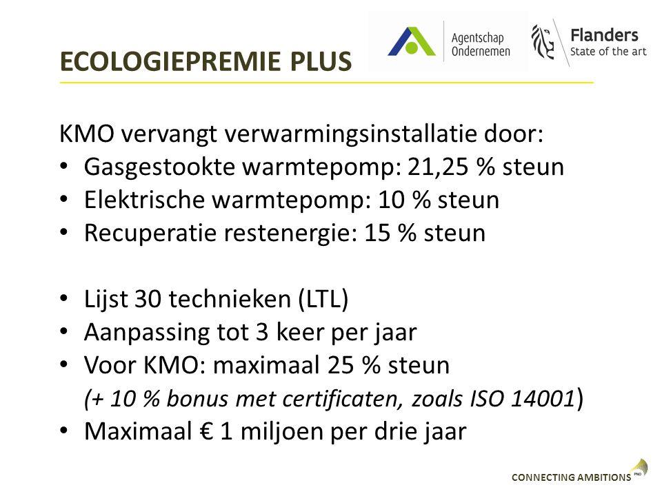 CONNECTING AMBITIONS ECOLOGIEPREMIE PLUS KMO vervangt verwarmingsinstallatie door: Gasgestookte warmtepomp: 21,25 % steun Elektrische warmtepomp: 10 %