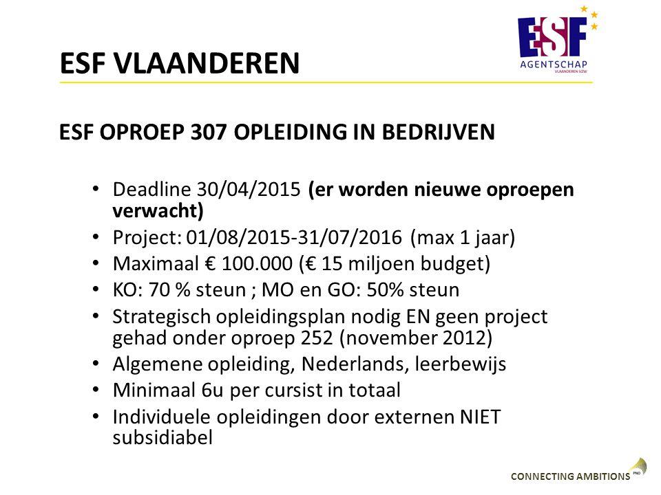 CONNECTING AMBITIONS ESF VLAANDEREN ESF OPROEP 307 OPLEIDING IN BEDRIJVEN Deadline 30/04/2015 (er worden nieuwe oproepen verwacht) Project: 01/08/2015