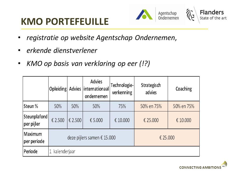 CONNECTING AMBITIONS KMO PORTEFEUILLE registratie op website Agentschap Ondernemen, erkende dienstverlener KMO op basis van verklaring op eer (!?)