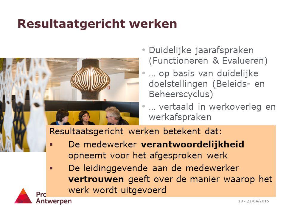 10 - 21/04/2015 Resultaatgericht werken Duidelijke jaarafspraken (Functioneren & Evalueren) … op basis van duidelijke doelstellingen (Beleids- en Behe