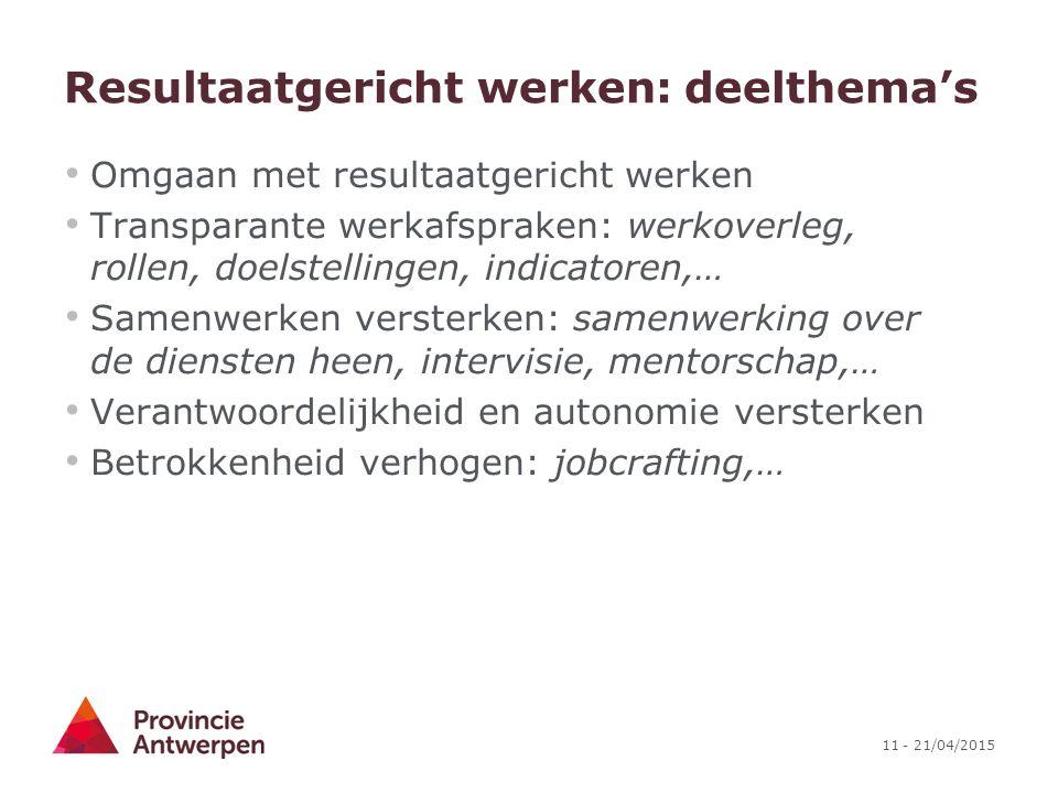 11 - 21/04/2015 Resultaatgericht werken: deelthema's Omgaan met resultaatgericht werken Transparante werkafspraken: werkoverleg, rollen, doelstellinge