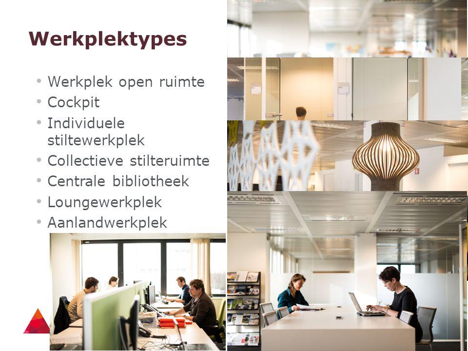 14 - 21/04/2015 Werkplektypes Werkplek open ruimte Cockpit Individuele stiltewerkplek Collectieve stilteruimte Centrale bibliotheek Loungewerkplek Aan