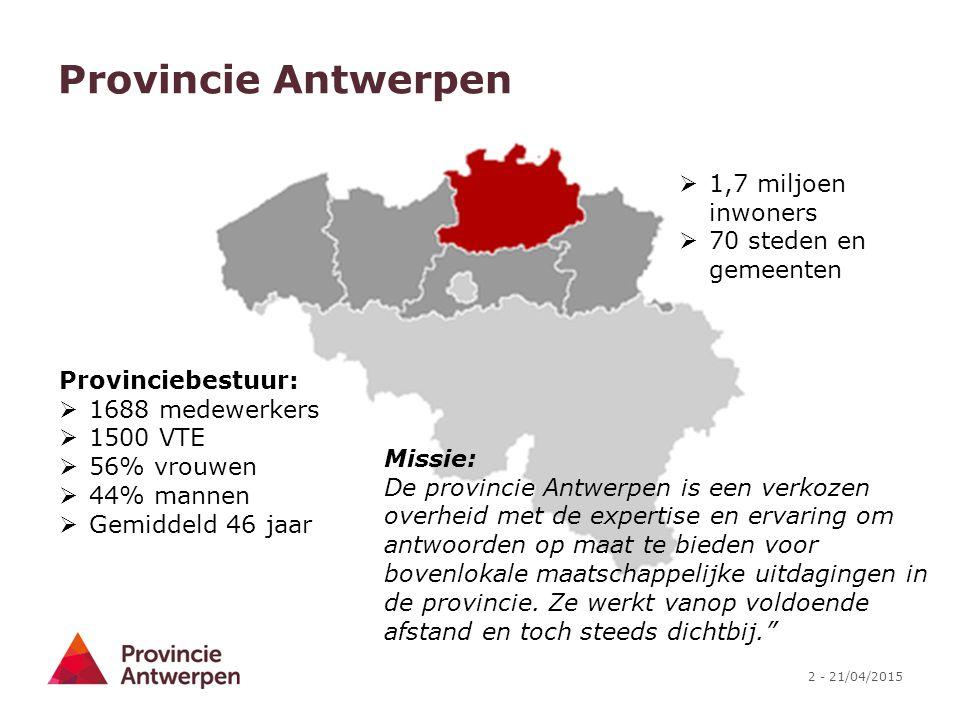 2 - 21/04/2015 Provincie Antwerpen  1,7 miljoen inwoners  70 steden en gemeenten Provinciebestuur:  1688 medewerkers  1500 VTE  56% vrouwen  44%