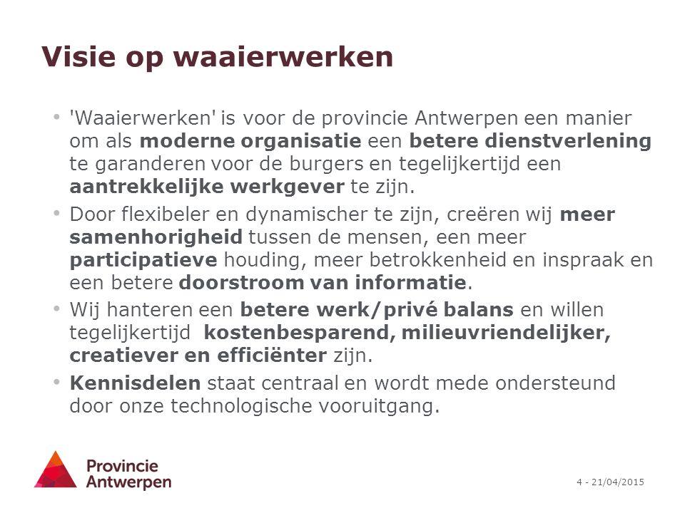 4 - 21/04/2015 Visie op waaierwerken 'Waaierwerken' is voor de provincie Antwerpen een manier om als moderne organisatie een betere dienstverlening te