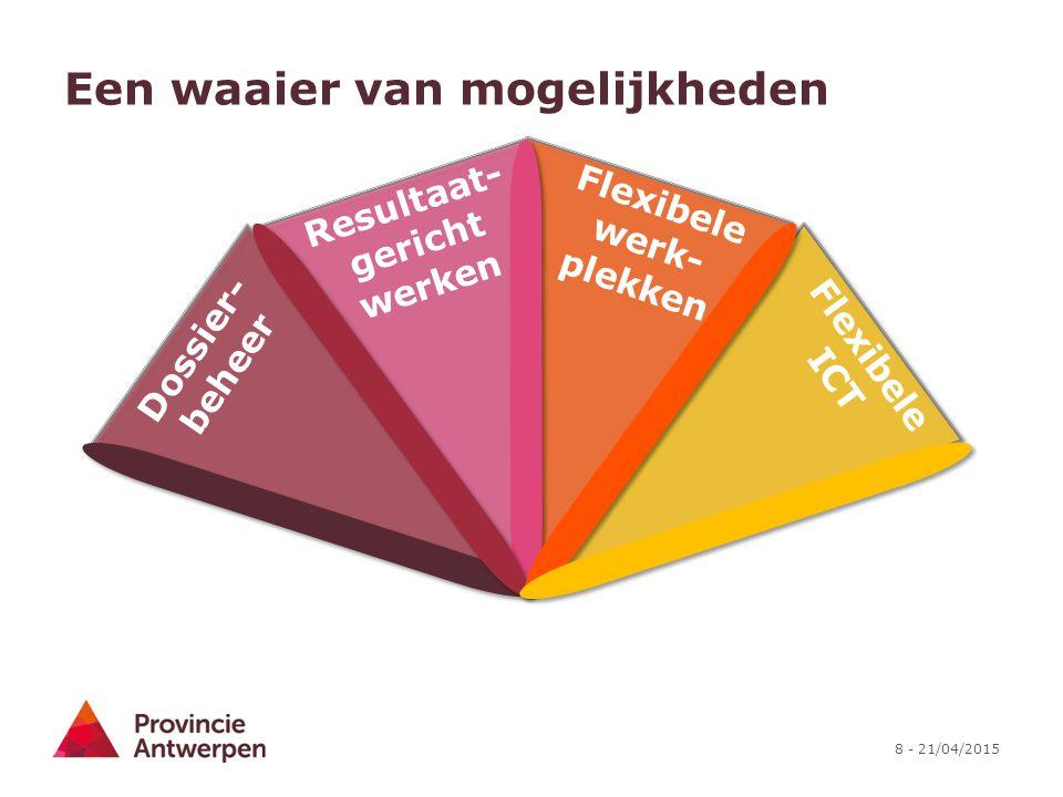 8 - 21/04/2015 Een waaier van mogelijkheden Flexibele ICT Flexibele werk- plekken Dossier- beheer Resultaat- gericht werken