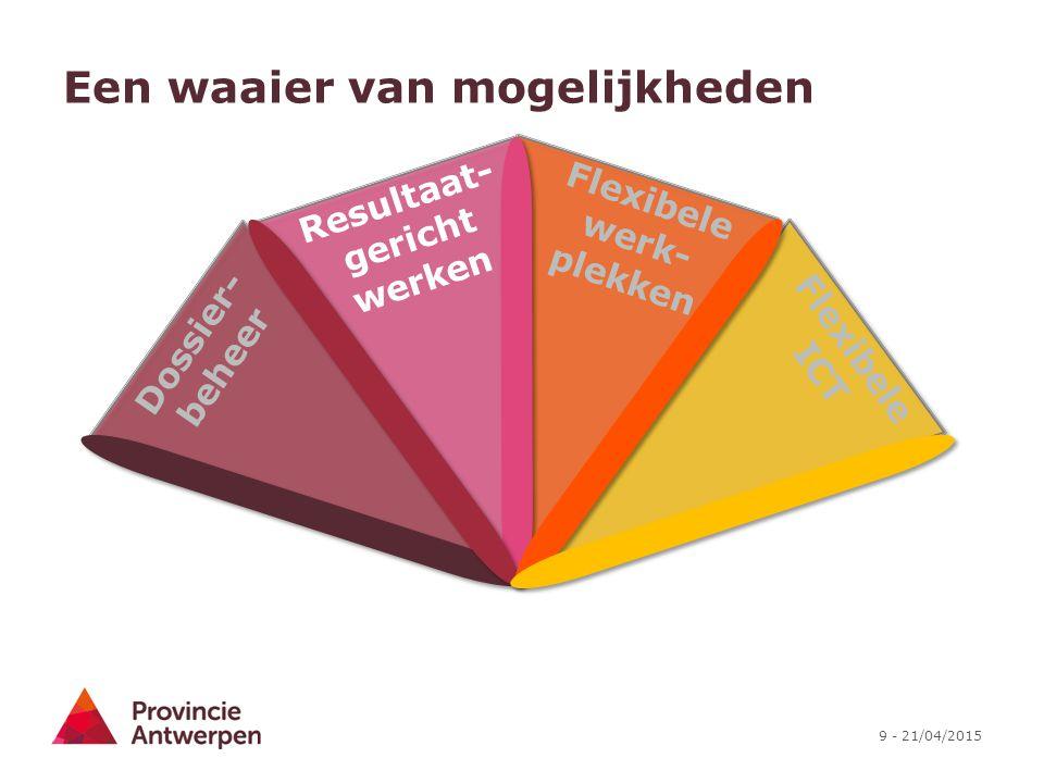 9 - 21/04/2015 Een waaier van mogelijkheden Flexibele ICT Flexibele werk- plekken Dossier- beheer Resultaat- gericht werken