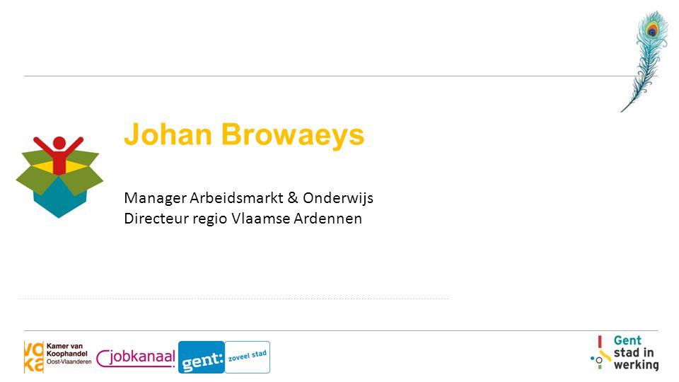 Johan Browaeys Manager Arbeidsmarkt & Onderwijs Directeur regio Vlaamse Ardennen