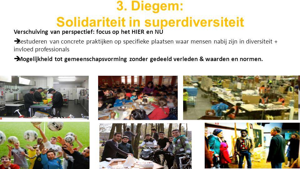 3. Diegem: Solidariteit in superdiversiteit Verschuiving van perspectief: focus op het HIER en NU  Bestuderen van concrete praktijken op specifieke p