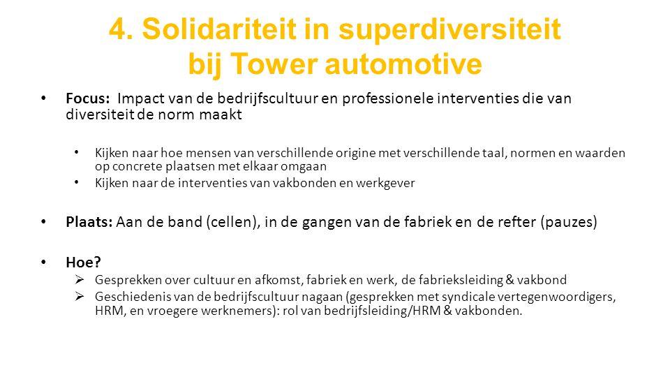 4. Solidariteit in superdiversiteit bij Tower automotive Focus: Impact van de bedrijfscultuur en professionele interventies die van diversiteit de nor