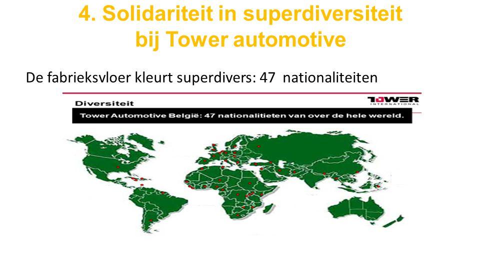 4. Solidariteit in superdiversiteit bij Tower automotive De fabrieksvloer kleurt superdivers: 47 nationaliteiten