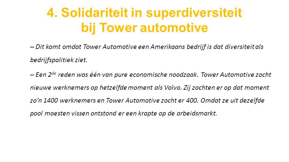 4. Solidariteit in superdiversiteit bij Tower automotive – Dit komt omdat Tower Automotive een Amerikaans bedrijf is dat diversiteit als bedrijfspolit
