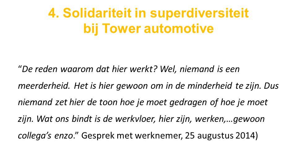 4. Solidariteit in superdiversiteit bij Tower automotive De reden waarom dat hier werkt.