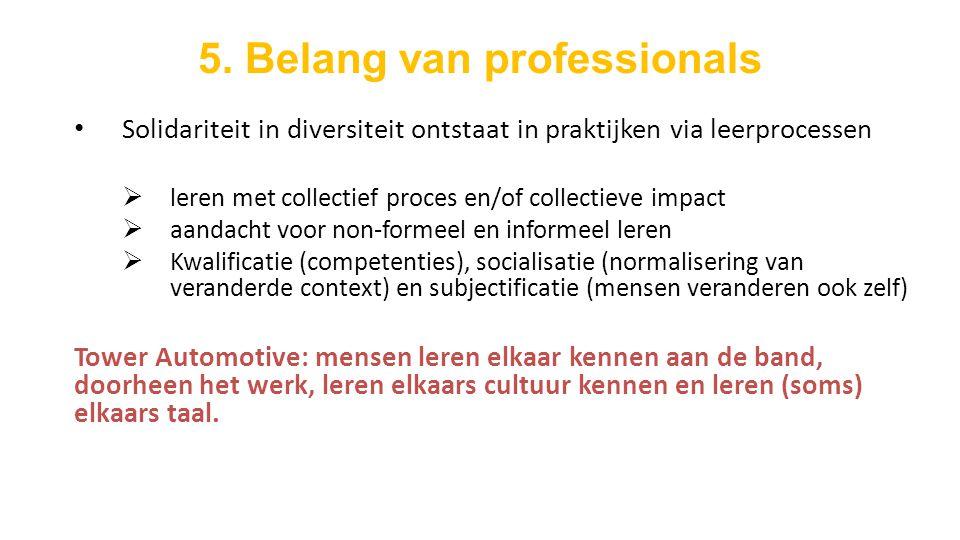 5. Belang van professionals Solidariteit in diversiteit ontstaat in praktijken via leerprocessen  leren met collectief proces en/of collectieve impac