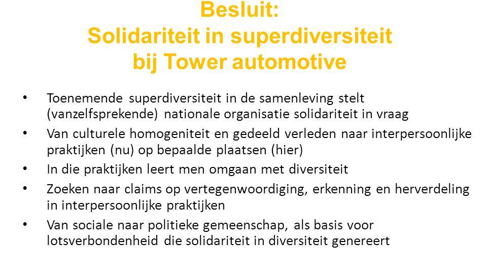 Besluit: Solidariteit in superdiversiteit bij Tower automotive Toenemende superdiversiteit in de samenleving stelt (vanzelfsprekende) nationale organisatie solidariteit in vraag Van culturele homogeniteit en gedeeld verleden naar interpersoonlijke praktijken (nu) op bepaalde plaatsen (hier) In die praktijken leert men omgaan met diversiteit Zoeken naar claims op vertegenwoordiging, erkenning en herverdeling in interpersoonlijke praktijken Van sociale naar politieke gemeenschap, als basis voor lotsverbondenheid die solidariteit in diversiteit genereert