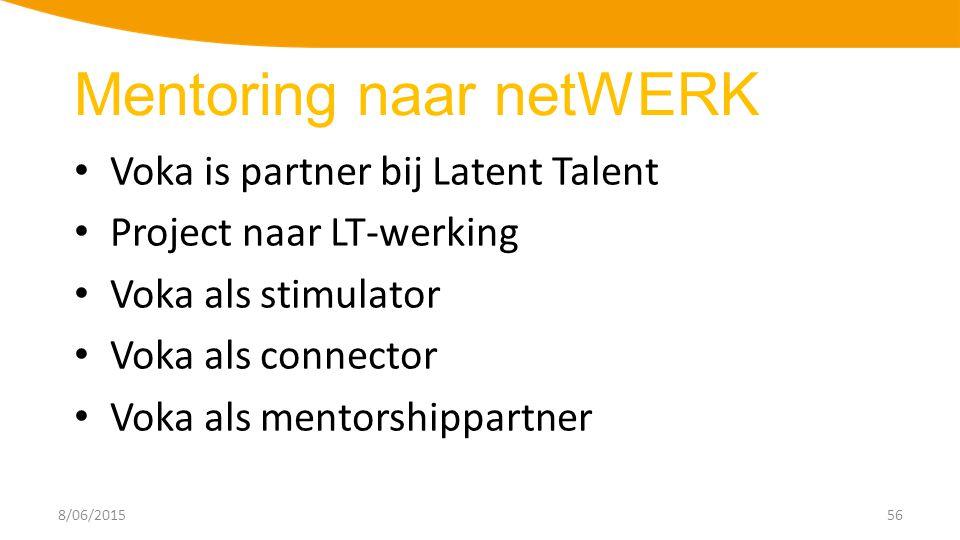 8/06/201556 Voka is partner bij Latent Talent Project naar LT-werking Voka als stimulator Voka als connector Voka als mentorshippartner Mentoring naar netWERK