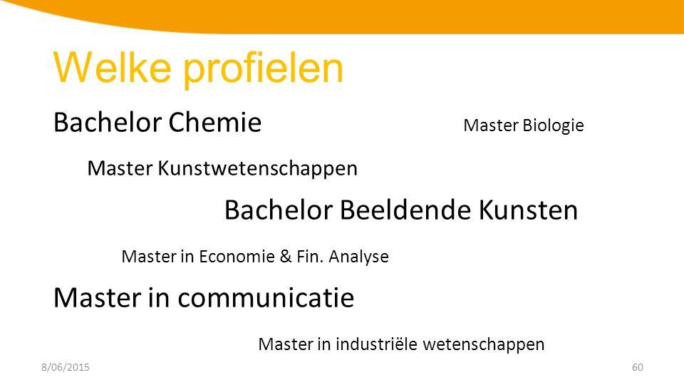 8/06/201560 Bachelor Chemie Master Biologie Master Kunstwetenschappen Bachelor Beeldende Kunsten Master in Economie & Fin.