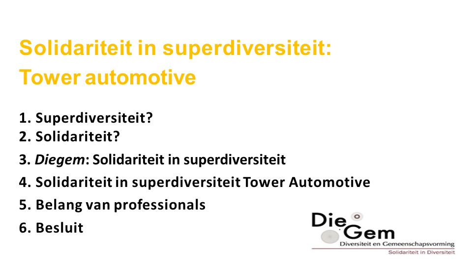 Solidariteit in superdiversiteit: Tower automotive 1.