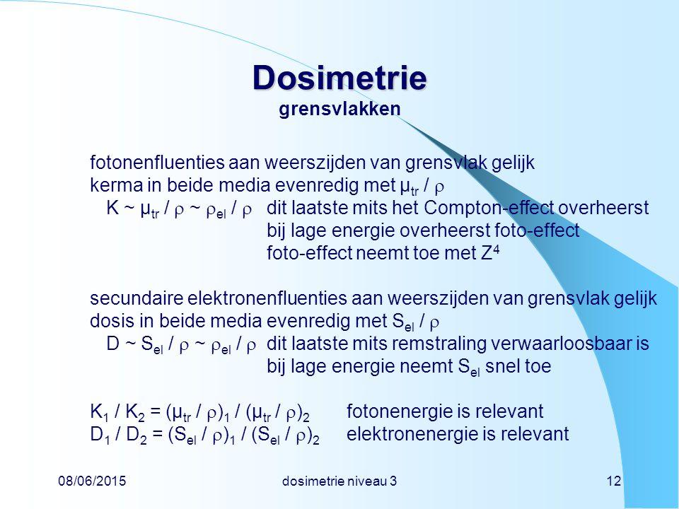 08/06/2015dosimetrie niveau 312 Dosimetrie Dosimetrie grensvlakken fotonenfluenties aan weerszijden van grensvlak gelijk kerma in beide media evenredig met µ tr /  K ~ µ tr /  ~  el /  dit laatste mits het Compton-effect overheerst bij lage energie overheerst foto-effect foto-effect neemt toe met Z 4 secundaire elektronenfluenties aan weerszijden van grensvlak gelijk dosis in beide media evenredig met S el /  D ~ S el /  ~  el /  dit laatste mits remstraling verwaarloosbaar is bij lage energie neemt S el snel toe K 1 / K 2 = (µ tr /  ) 1 / (µ tr /  ) 2 fotonenergie is relevant D 1 / D 2 = (S el /  ) 1 / (S el /  ) 2 elektronenergie is relevant