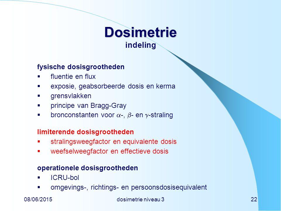 08/06/2015dosimetrie niveau 322 Dosimetrie Dosimetrie indeling fysische dosisgrootheden  fluentie en flux  exposie, geabsorbeerde dosis en kerma  g