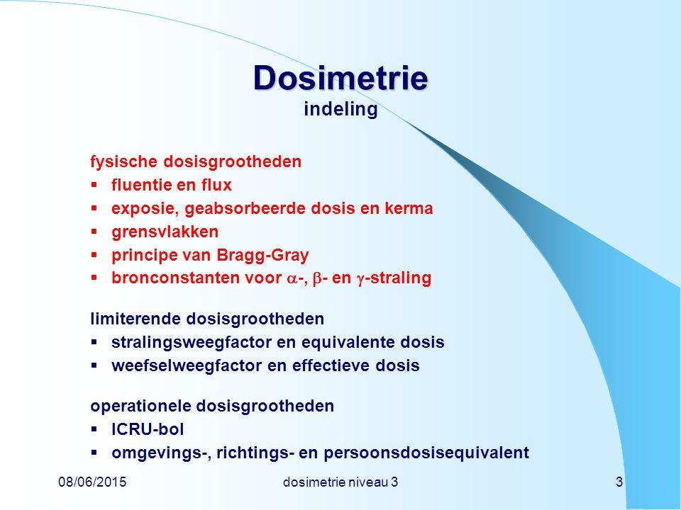 08/06/2015dosimetrie niveau 33 Dosimetrie Dosimetrie indeling fysische dosisgrootheden  fluentie en flux  exposie, geabsorbeerde dosis en kerma  gr
