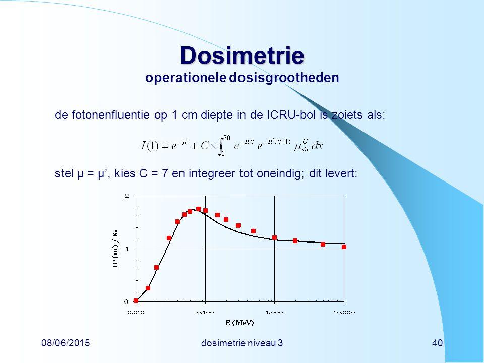08/06/2015dosimetrie niveau 340 Dosimetrie Dosimetrie operationele dosisgrootheden de fotonenfluentie op 1 cm diepte in de ICRU-bol is zoiets als: stel µ = µ', kies C = 7 en integreer tot oneindig; dit levert: