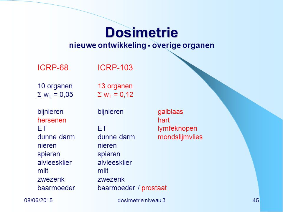 08/06/2015dosimetrie niveau 345 Dosimetrie Dosimetrie nieuwe ontwikkeling - overige organen ICRP-68ICRP-103 10 organen13 organen  w T = 0,05  w T = 0,12 bijnierenbijnierengalblaas hersenenhart ETETlymfeknopen dunne darmdunne darmmondslijmvliesnierenspierenalvleeskliermiltzwezerik baarmoederbaarmoeder / prostaat