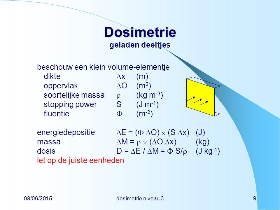 08/06/2015dosimetrie niveau 39 Dosimetrie Dosimetrie geladen deeltjes beschouw een klein volume-elementje dikte  x(m) oppervlak  O(m 2 ) soortelijke massa  (kg m -3 ) stopping powerS(J m -1 ) fluentie  (m -2 ) energiedepositie  E = (   O)  (S  x)(J) massa  M =   (  O  x)(kg) dosisD =  E /  M =  S/  (J kg -1 ) let op de juiste eenheden
