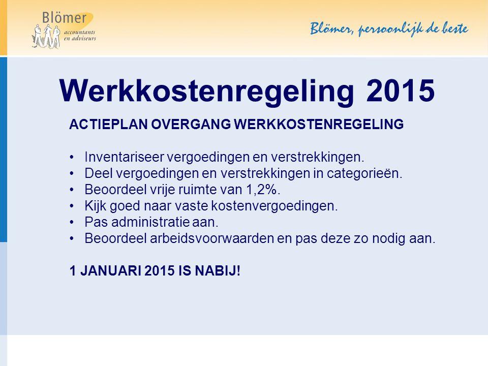 Werkkostenregeling 2015 ACTIEPLAN OVERGANG WERKKOSTENREGELING Inventariseer vergoedingen en verstrekkingen. Deel vergoedingen en verstrekkingen in cat