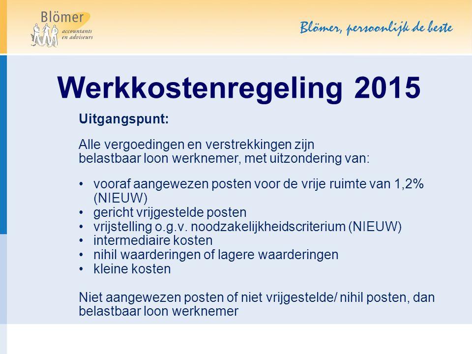Werkkostenregeling 2015 Uitgangspunt: Alle vergoedingen en verstrekkingen zijn belastbaar loon werknemer, met uitzondering van: vooraf aangewezen post