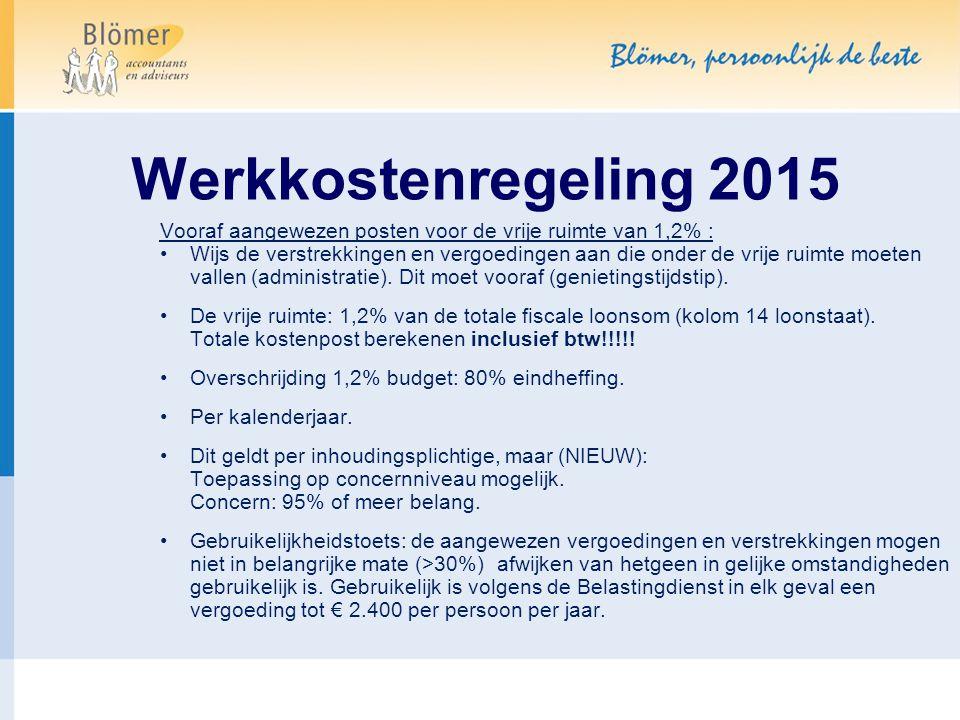 Werkkostenregeling 2015 Voorbeeld: Fiscale loonsom€ 500.000 1,2% vrije ruimte 6.000 Feitelijk aangewezen 10.000 Overschot onder eindheffing 4.000 Eindheffing 80% 3.200