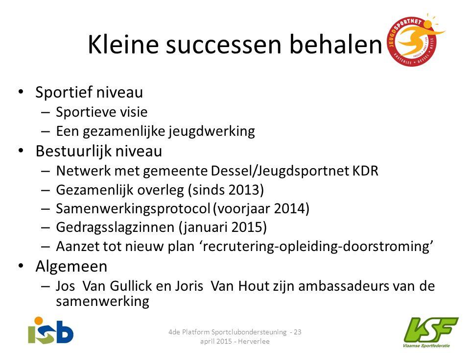Kleine successen behalen Sportief niveau – Sportieve visie – Een gezamenlijke jeugdwerking Bestuurlijk niveau – Netwerk met gemeente Dessel/Jeugdsport