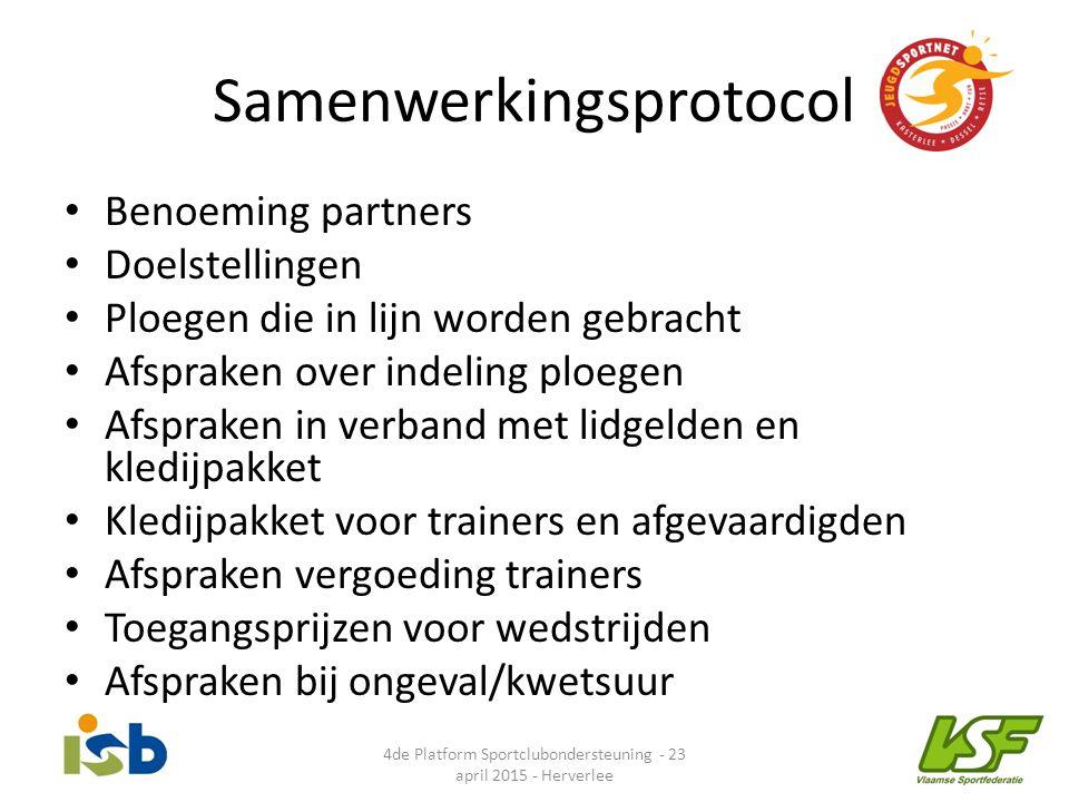 Samenwerkingsprotocol Benoeming partners Doelstellingen Ploegen die in lijn worden gebracht Afspraken over indeling ploegen Afspraken in verband met l