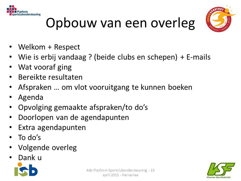 Opbouw van een overleg Welkom + Respect Wie is erbij vandaag ? (beide clubs en schepen) + E-mails Wat vooraf ging Bereikte resultaten Afspraken … om v