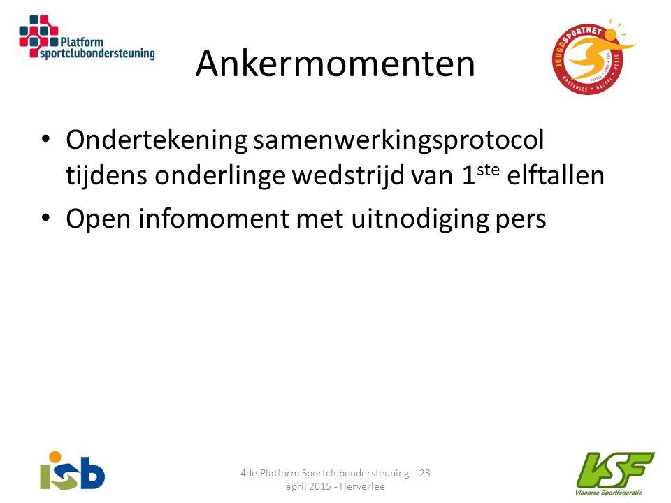 Ankermomenten Ondertekening samenwerkingsprotocol tijdens onderlinge wedstrijd van 1 ste elftallen Open infomoment met uitnodiging pers 4de Platform S